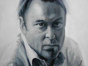 Christopher Hitchens Black & White Acrylic Portrait Framed Canvas
