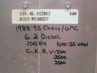 Chevy GMC Truck Van 6 2L C Diesel 700R4 ECM 1228812 Chip Auwa
