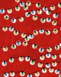 Peanuts Charlie Brown Christmas Time Tree Lights Red Fat Quarter