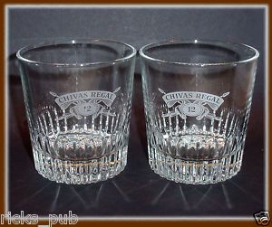 Chivas Regal 12 Year Glass Tumblers 2 Lowball Old Fashion Glasses