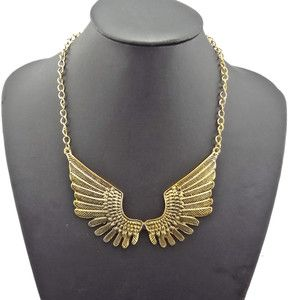 Vintage Style Gold Metal Angel Wings Chunky Bib Chokers Necklace