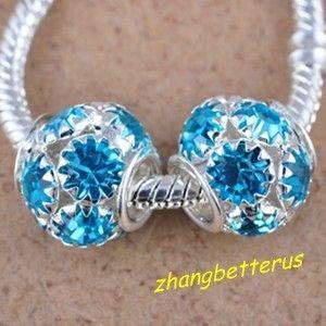 Silver Plated Crystal Rhinestone Big Hole Beads Bracelet Charms 14 mm