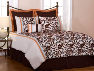 New Chocolate Brown on White Bedding Nora Comforter Set Queen King Cal