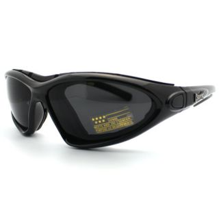 Choppers Biker Sunglasses Motorcycle Padded Vented Goggle Black Lens