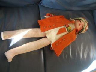 Vintage 1920s Lenci Style Felt Fabric Doll Hand Painted Face Felt Hat