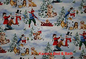 Country Christmas Kids Boy Girl Sled Snow Bird Dog Cat Snowman Snow