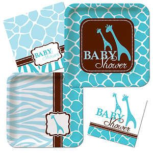 Wild Safari Blue Baby Shower Plate Napkin Animal Print Baby Shower