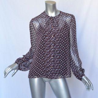 Diane Von Furstenberg Black Brown Plum Silk Pwerleman Shirt Blouse Top