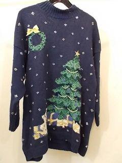 Sweater XL Marisa Christina blue velvet bows gold metallic beads
