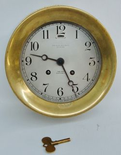 ANTIQUE 1915 1919 CHELSEA CLOCK CO. BOSTON SHIPS BELL BRASS CLOCK