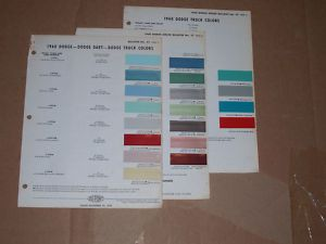 1960 Dodge Colors Dupont Paint Chip Charts Dart Truck