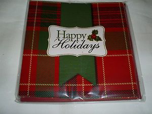 Square Blank Holiday Note Cards in Christmas Plaid 6 Cards