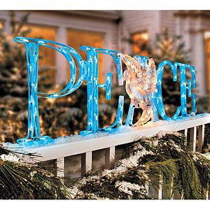 OUTDOOR LIGHTED CHRISTMAS PEACE DOVE SIGN Yard Art Display Holiday