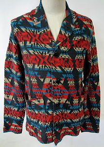 Obey Clothing Cherokee Mens Cardigan Sweater Native American Art Blk