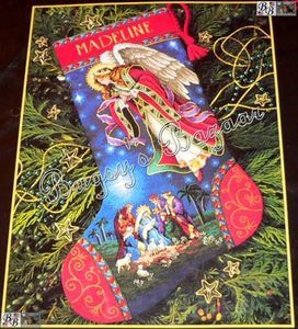 Heavenly Angel Magi Counted Cross Stitch Christmas Stocking Kit