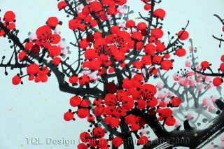 Sale 47 Red Cherry Blossom Tree Original Modern Asian Art Watercolor