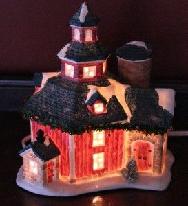 Barn House Christmas Village Light Up Snow Covered Valley Original