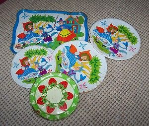 Vintage Tin Plates Tray Little Red Riding Hood Ohio Art Strawberry