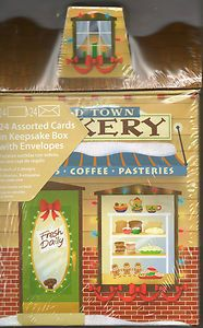 Assortment Christmas Cards Keepsake Box Old Town Bakery DONUTS COFFEE