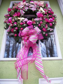 Gorgeous Large Artificial Christmas Wreath Hot Pinks Lots of Sparkle