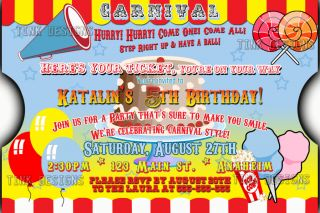 Carnival Birthday Party Invitations Favor Circus Big Top