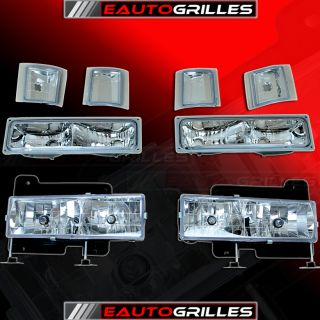 88 98 Chevy C K 1500 2500 3500 Chrome Headlights Corner Light Bumper