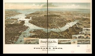 21 VINTAGE, PANORAMIC MAPS OF CITIES AND TOWNS IN VIRGINIA ON CD