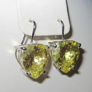 Vintage Chunky Heart Shaped Earrings Rhinestone Yellow Chartreuse