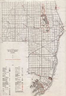 ST. CLAIR COUNTY MICHIGAN authentic Vintage Map PORT HURON 14x17