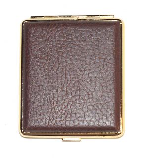 CIGARETTE CASE LEATHER METAL MILL DESIGN   BROWN & GOLD SILVER ETCHING