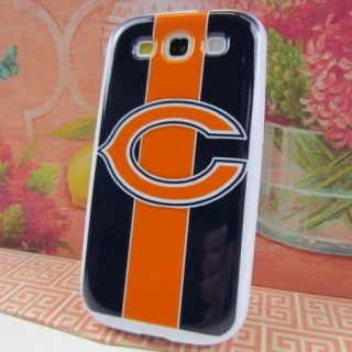 Chicago Bears Stripes Silicone Rubber Skin Cover Case Samsung Galaxy S