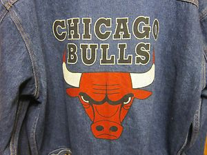 Mens Vtg LG Chicago Bulls NBA Jean Jacket in The Paint Basketball Gear