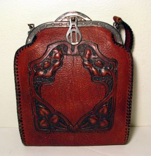 Vintage Antique Art Nouveau Deco Meeker Made Leather Purse Handbag