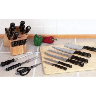 Cutlery Set in Wood Block Bread Knife Cleaver Shears Sharpener