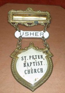 brass and steel saint peter baptist church usher badge it is 4 1 2