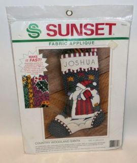 Vtg Sunset Fabric Applique Christmas Stocking Kit Santa