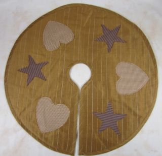 Country Hearts Stars Gold Mini Christmas Tree Skirt 21 In
