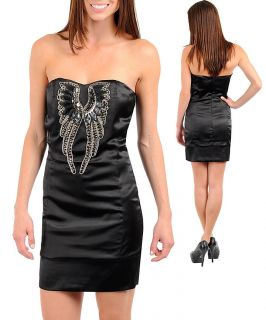 New Small Medium or Large Black Angel Wings Bling Sequins Cocktail