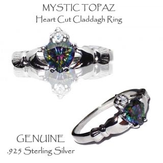 Mystic Topaz Heart Claddagh Sterling Ring