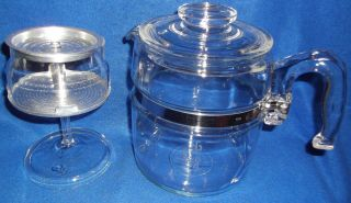 Vintage Pyrex 6 Cup Glass Percolator Coffee Pot Stove Top Flameware