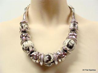 Big Bold Chunky Snake Skin Print Bead Fashion Statement Necklace