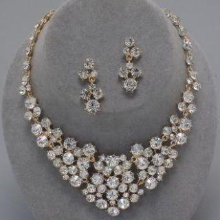 Chunky Gold Clear Crystal Statement Fashion Rhinestone Necklace Bib