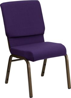 Series Royal Purple Stacking Church Chair Gold Vein Frame