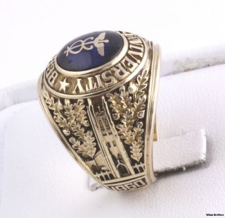 University Syn Blue Spinel Caduceus Class Ring   10k Gold Solid Back