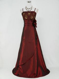 CHERLONE CLEARANCE Plus Size Satin Burgundy Wedding Evening Gown Dress