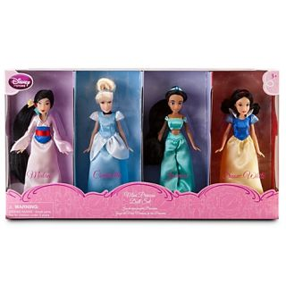 Disney Princess Doll Play Set 4pc Cinderella Mulan Snow White Jasmine