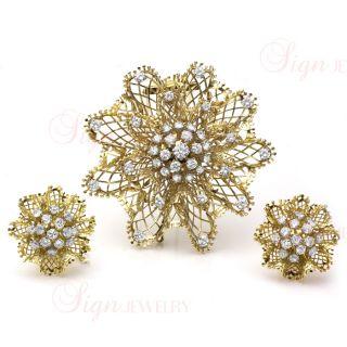 VAN CLEEF ARPELS Dentelle 1940s Diamond Flower Brooch Earrings