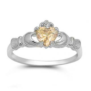 Sterling Silver Claddagh Ring Size 7 CZ Heart Champagne Gold Irish