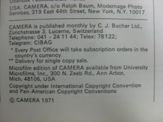 Issues Camera Magazines Photography Cinematography 1971 1972