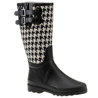 Chooka Houndstooth Black White Rain Snow Rubber Boots 10 New